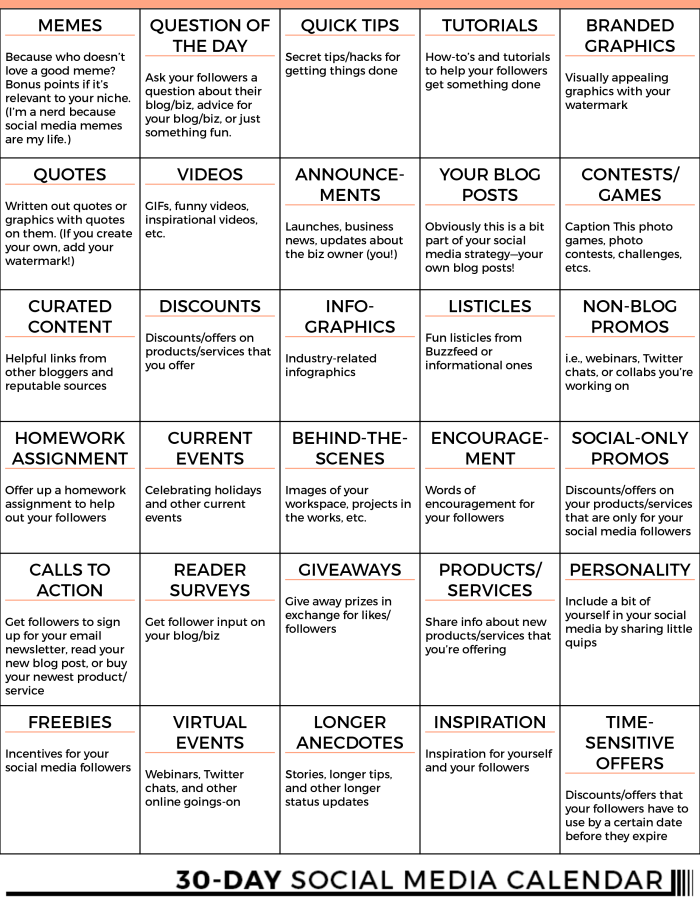 Days Of Social Media Content Free Content Calendar Social - Content marketing schedule template