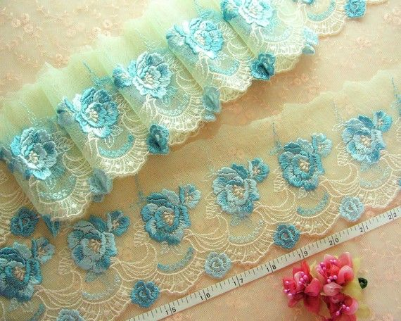 Green lace lace trim embroidered tulle lace by raincrazy133, $8.99