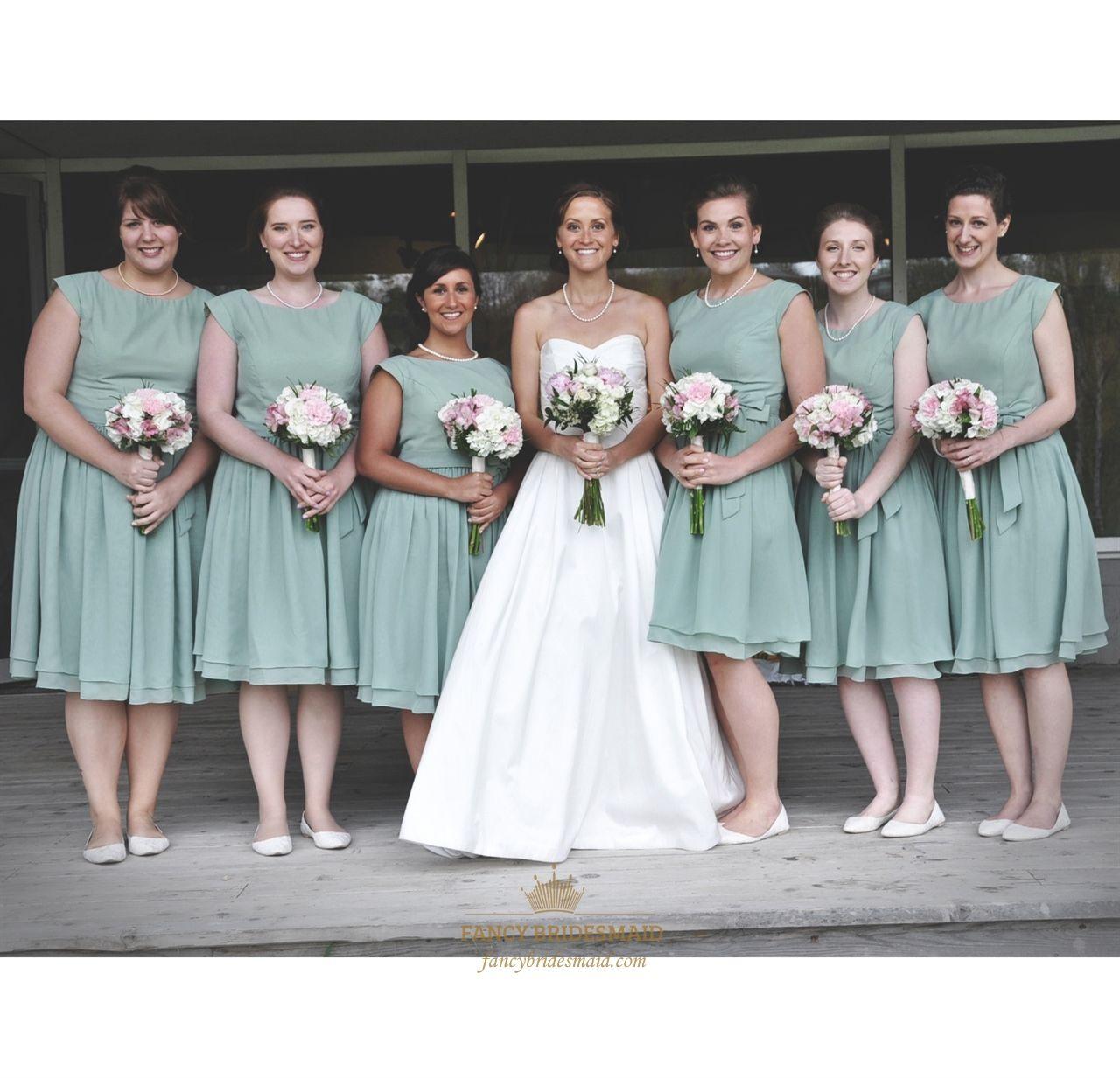 Simple Sage Green Cap Sleeve Chiffon Short Bridesmaid Dress With Sash Sage Bridesmaid Dresses Green Bridesmaid Dresses Short Tea Length Bridesmaid Dresses