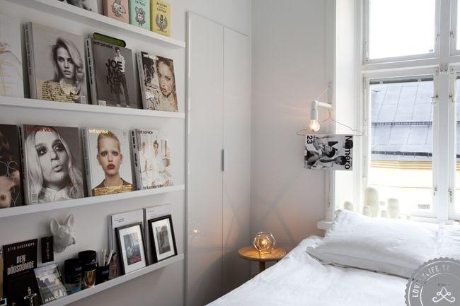 magazine shelving in the bedroom