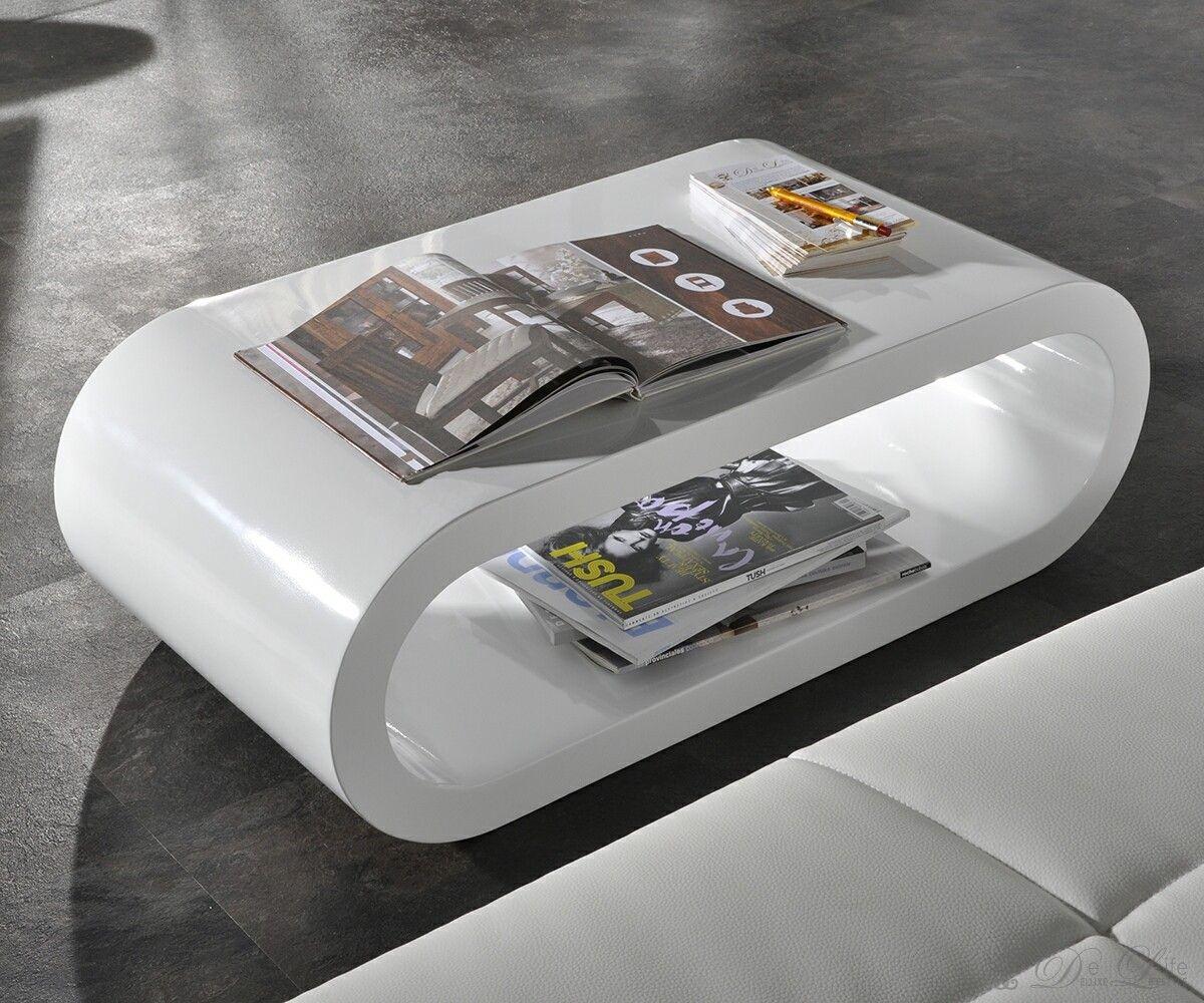 Wohnzimmertisch Lounge Club Deluxe Hochglanz Weiss 90x45 Cm Tisch Oval