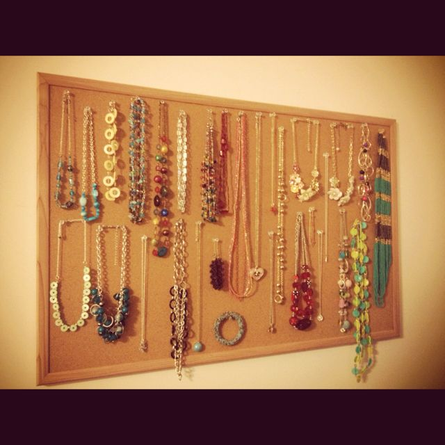 Bulletin board clear push pins homemade jewelry organizer Put