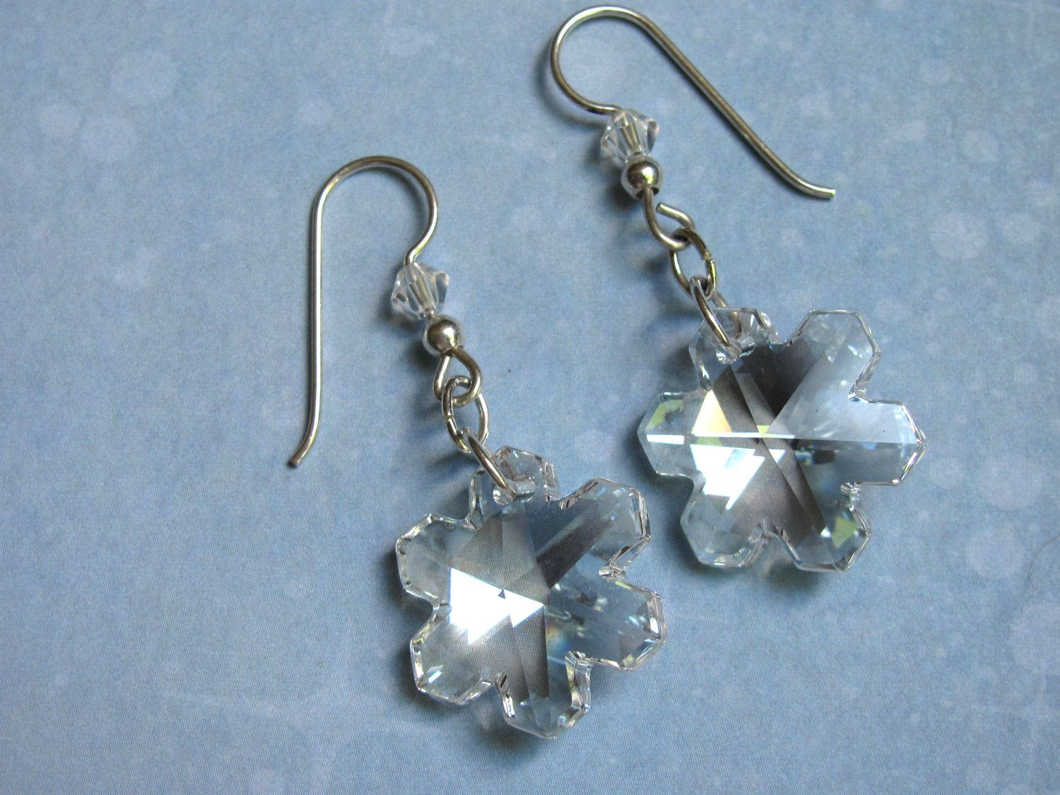 Crystal Snowflake Earrings Holiday Swarovski