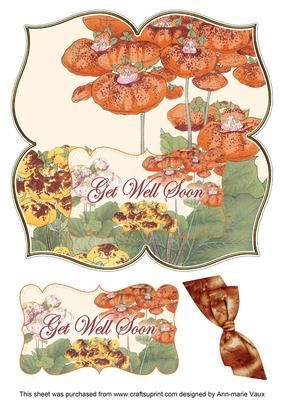 Ladies Slipper Get Well Soon 8in Large Blooms Fancy Topper on Craftsuprint - Add To Basket!