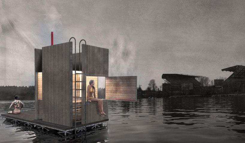 goCstudio envisions floating wa_sauna in union bay seattle - designboom | architecture & design magazine