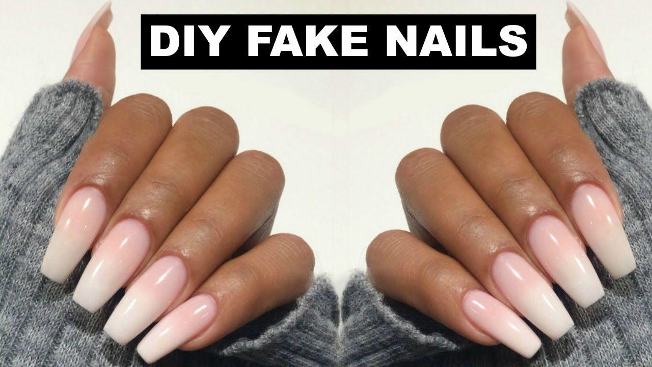 Diy Easy Fake Nails At Home No Acrylic Youtube Fake Nails Diy Diy Acrylic Nails Acrylic Nails At Home