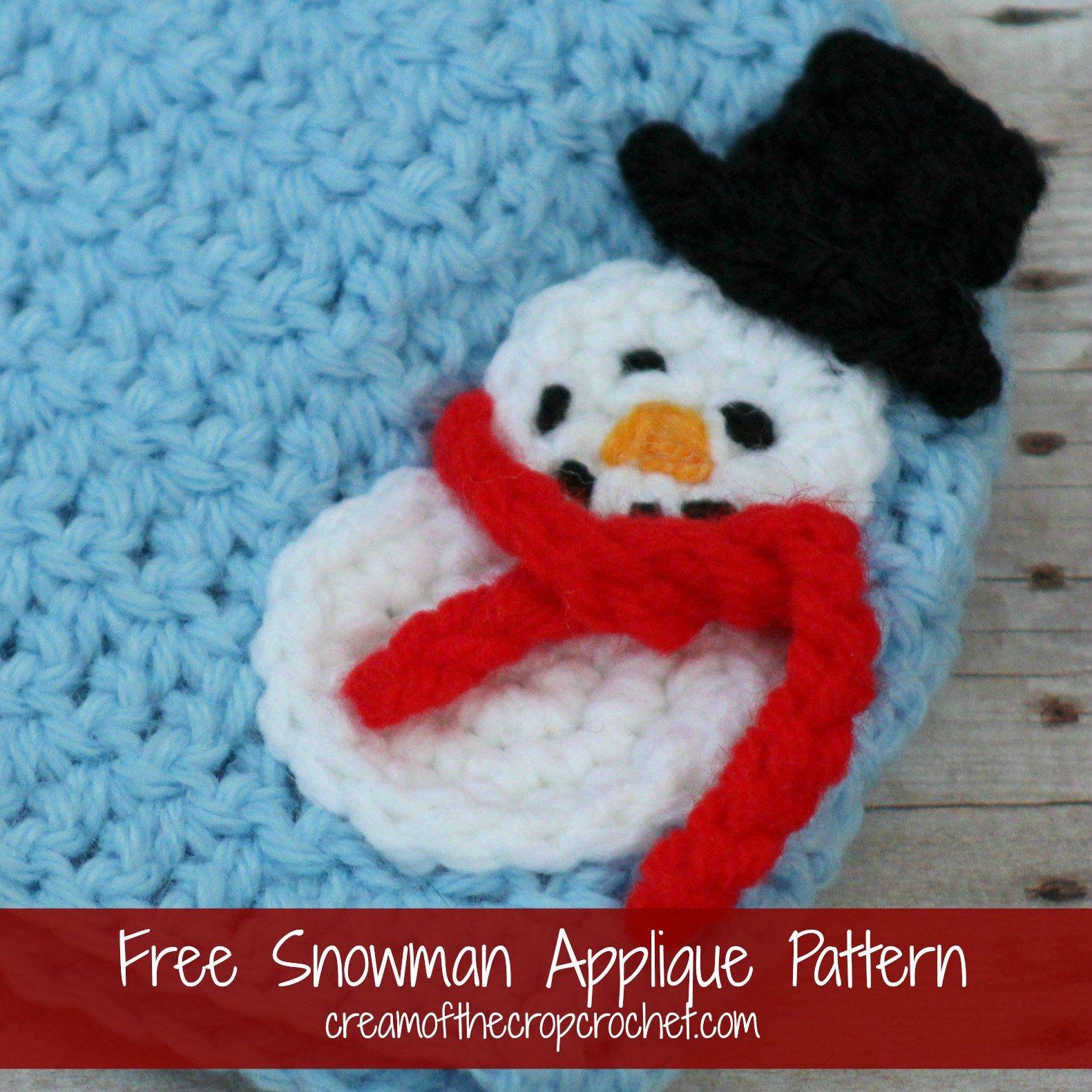 Snowman Applique Free Crochet Pattern Applique Pattern Applique Hats Crochet Snowman