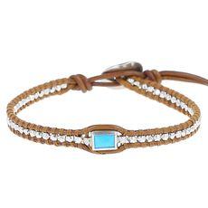 Turquoise Pendant Single Wrap Bracelet on Henna Leather