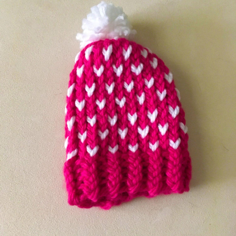 Newborn Fair Isle Knit Hat, Newborn Heart Hat, Newborn Knit Hat ...