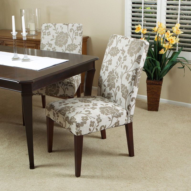 Set Of 2 Elegant Floral Pattern Design Fabric Upholstered Dining Rh Com Parson Chairs