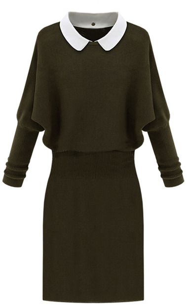 Knitted Army Green Dress on shopstyle.com