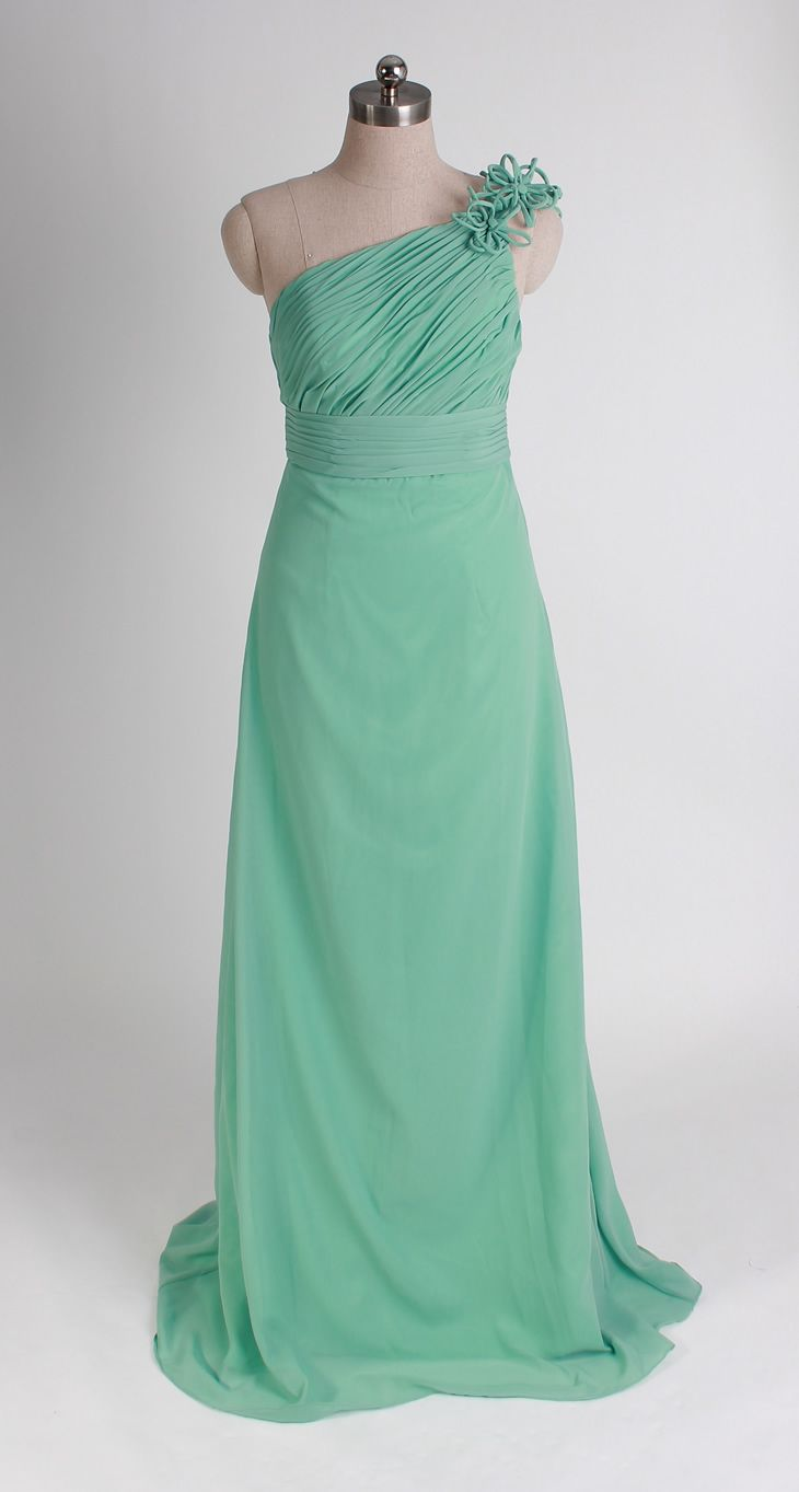 One shoulder chiffon bridesmaid dress with natural waist | Dream on ...