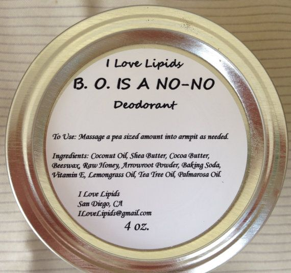 Best natural deodorant ever!!  BO is a NoNO Natural Deodorant by ILoveLipids on Etsy. , via Etsy.