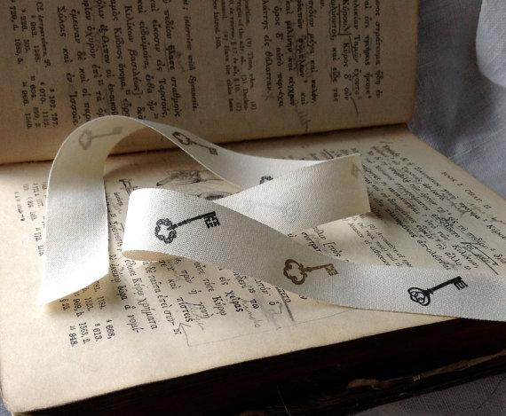 natural cotton ribbon with key print black gold ecru by ShyMyrtle