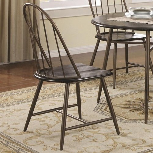Coaster Jade Windsor Side Chair with Metal Frame and Wood Saddle – Metal Frame Dining Chairs