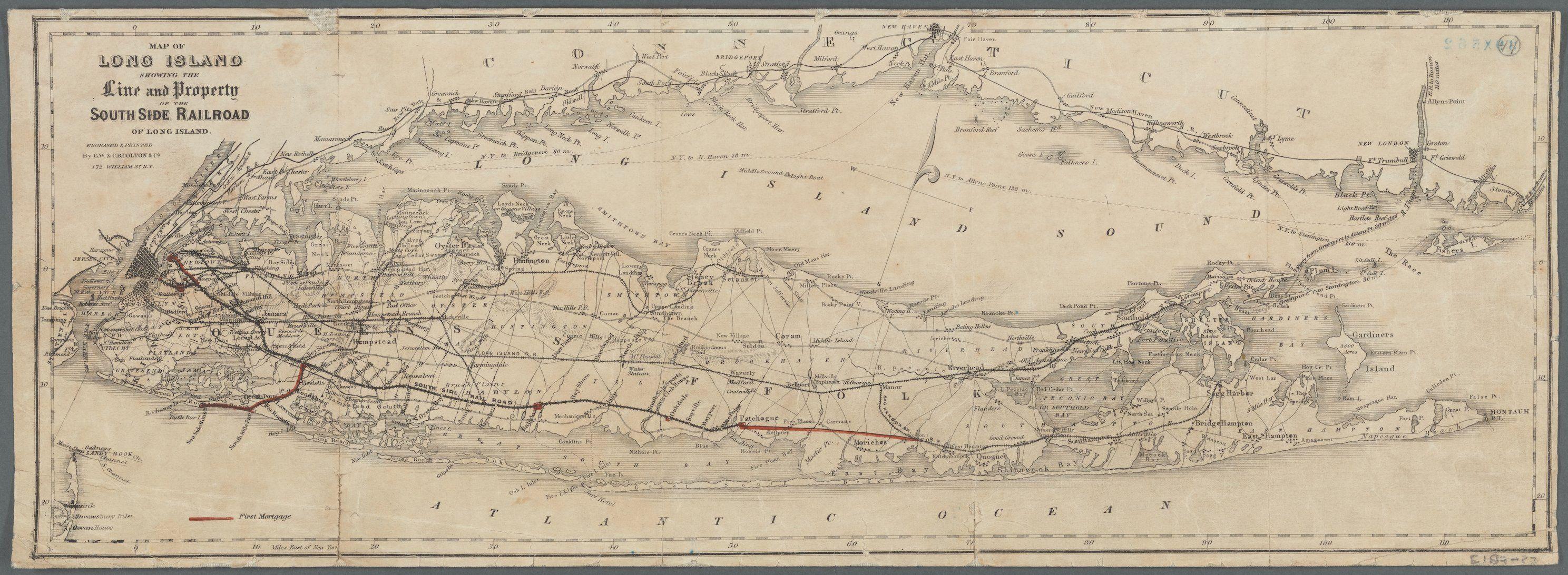 Best Long Island Sound South Side Rail Road Map 18 X 50 400 x 300