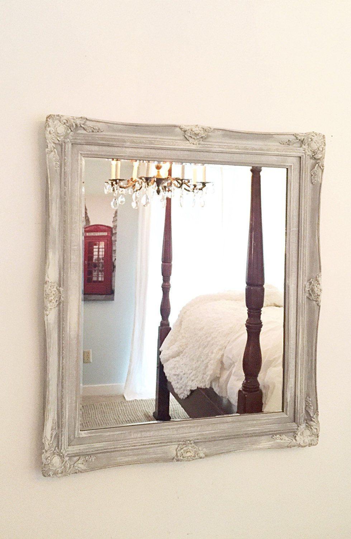 LARGE WALL MIRROR, Gray Ornate Bathroom Living Room Wall Mirror ...