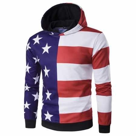 American Flag Hoodie For Men Color Block Star And Striped Hooded Sweatshirts Sweatshirts Hoodie Printed Sweatshirts Hoodies