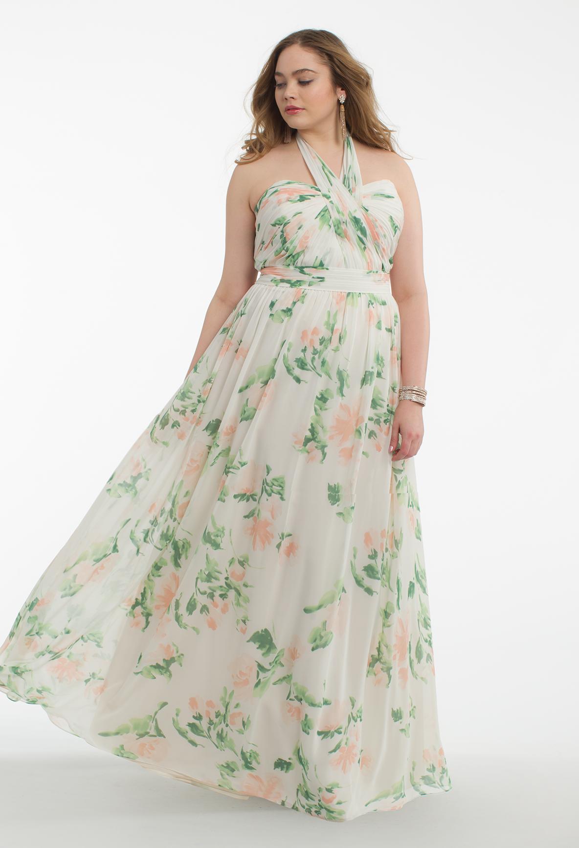 Print tie neck halter dress floral bridesmaid dresses bridal