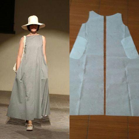 Simplement robe sans manches long motif. – #costura #Costurafacil #Moldesdevestidos …   – Best Pins