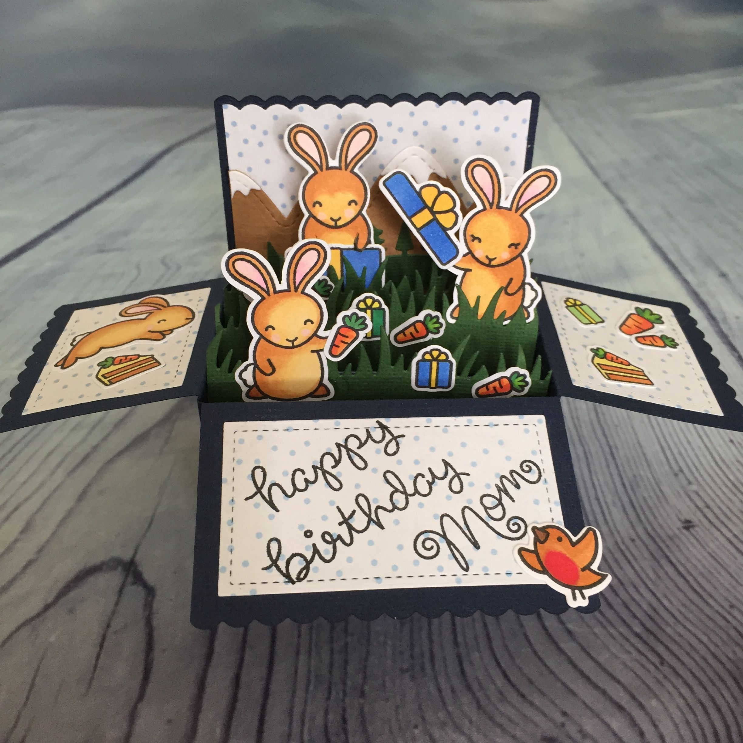 lawn fawn pop up bunny birthday card fun and easy to make