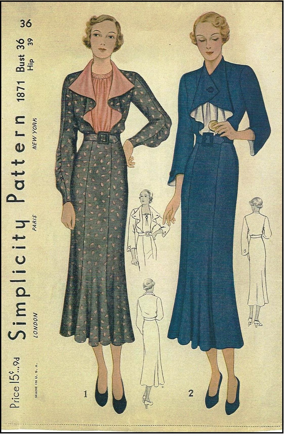 1930s Ladies Dress With Flounce Collar Sewing Pattern Simplicity 1871 Vintage Fashion 1930s Vintage Sewing Patterns Retro Fashion