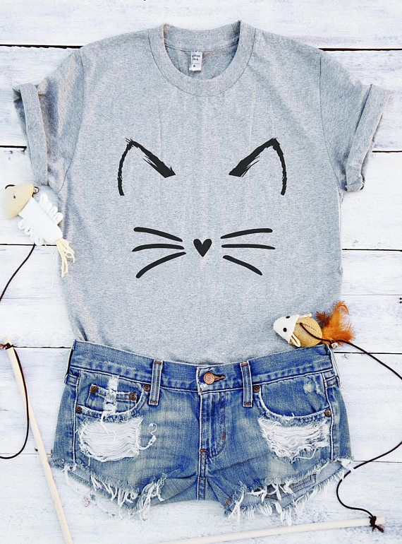 962c54622e Cute cat shirt funny graphic kitty T-shirts women gift cute gift idea Girls  Puns Quotes Workout Design Nerdy animal pets