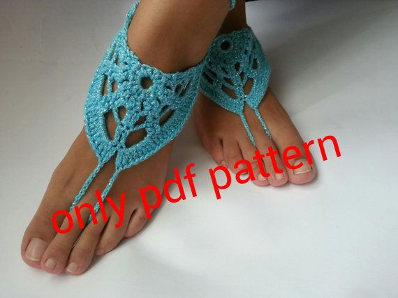 Barefoot sandal crochet pattern, anklet,barefoot sandals, pdf ...