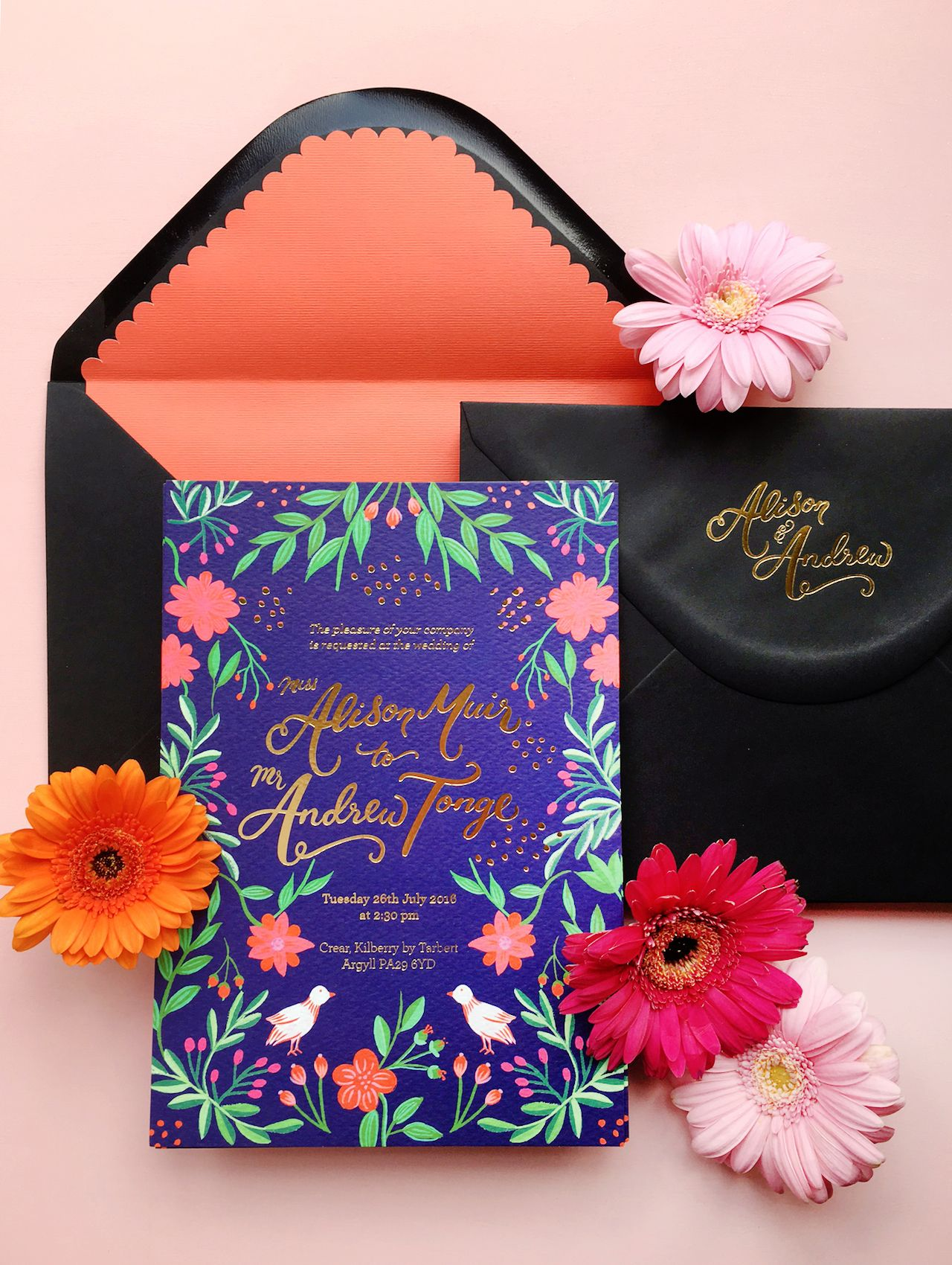 Colorful Mexican Fete Inspired Wedding Invitations by BerinMade