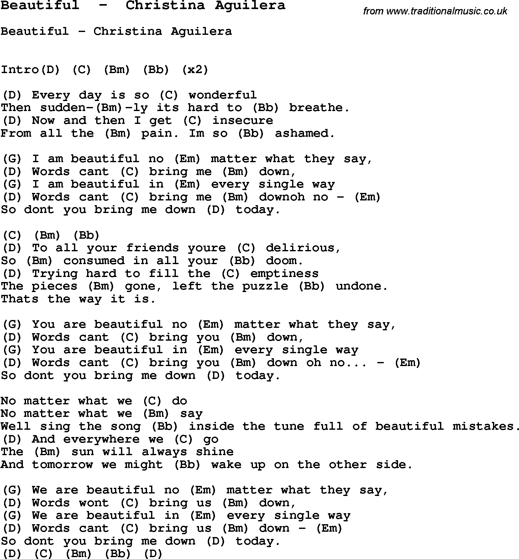 Song Beautiful By Christina Aguilera With Lyrics For Vocal