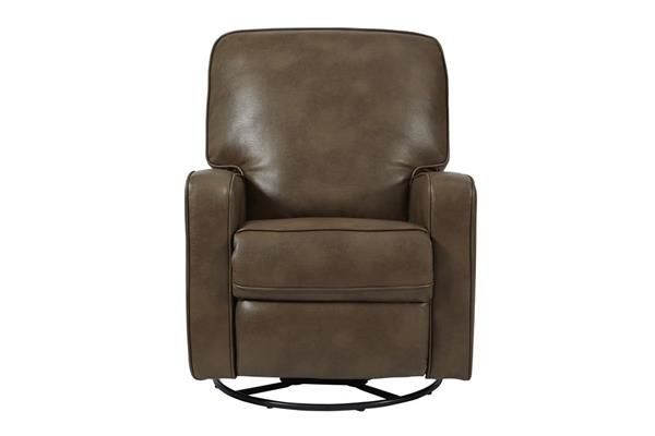 Roman Chestnut Modern Sutton Faux Leather Swivel/Glider Recliner