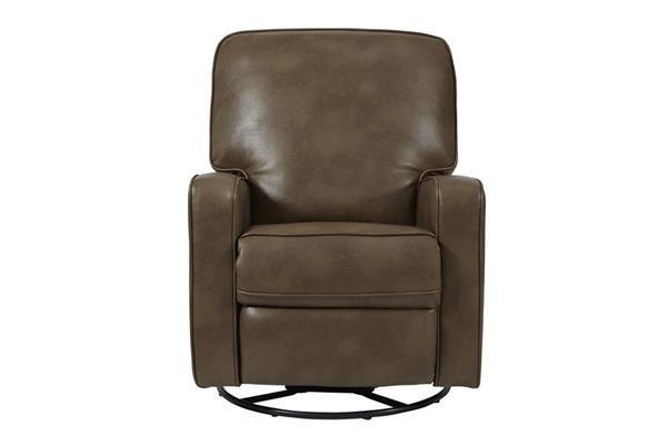 Roman Chestnut Modern Sutton Faux Leather Swivel/Glider Recliner