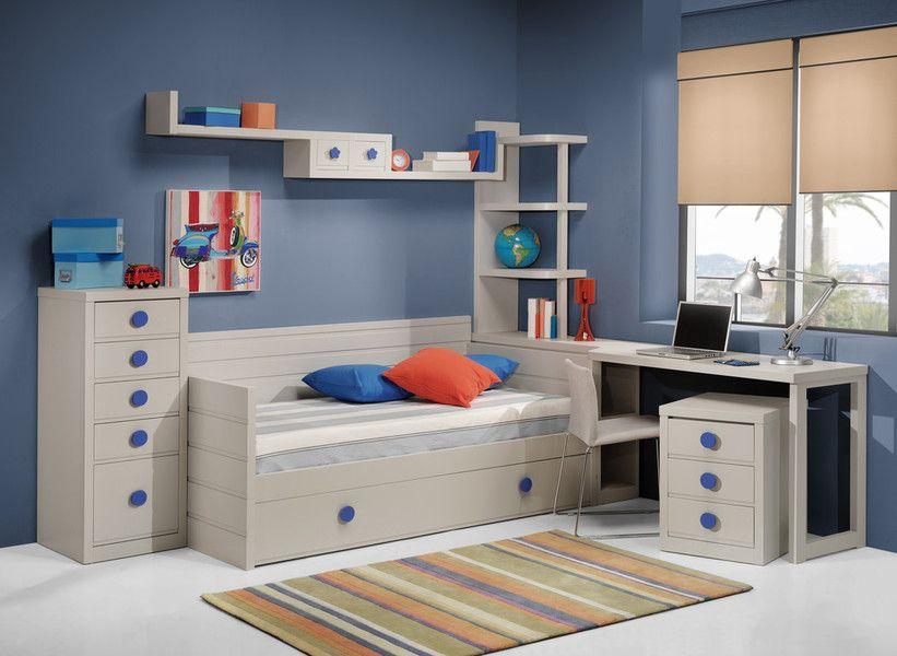 Habitaci n infant l gris y azul camas pinterest gris for Camas nido originales