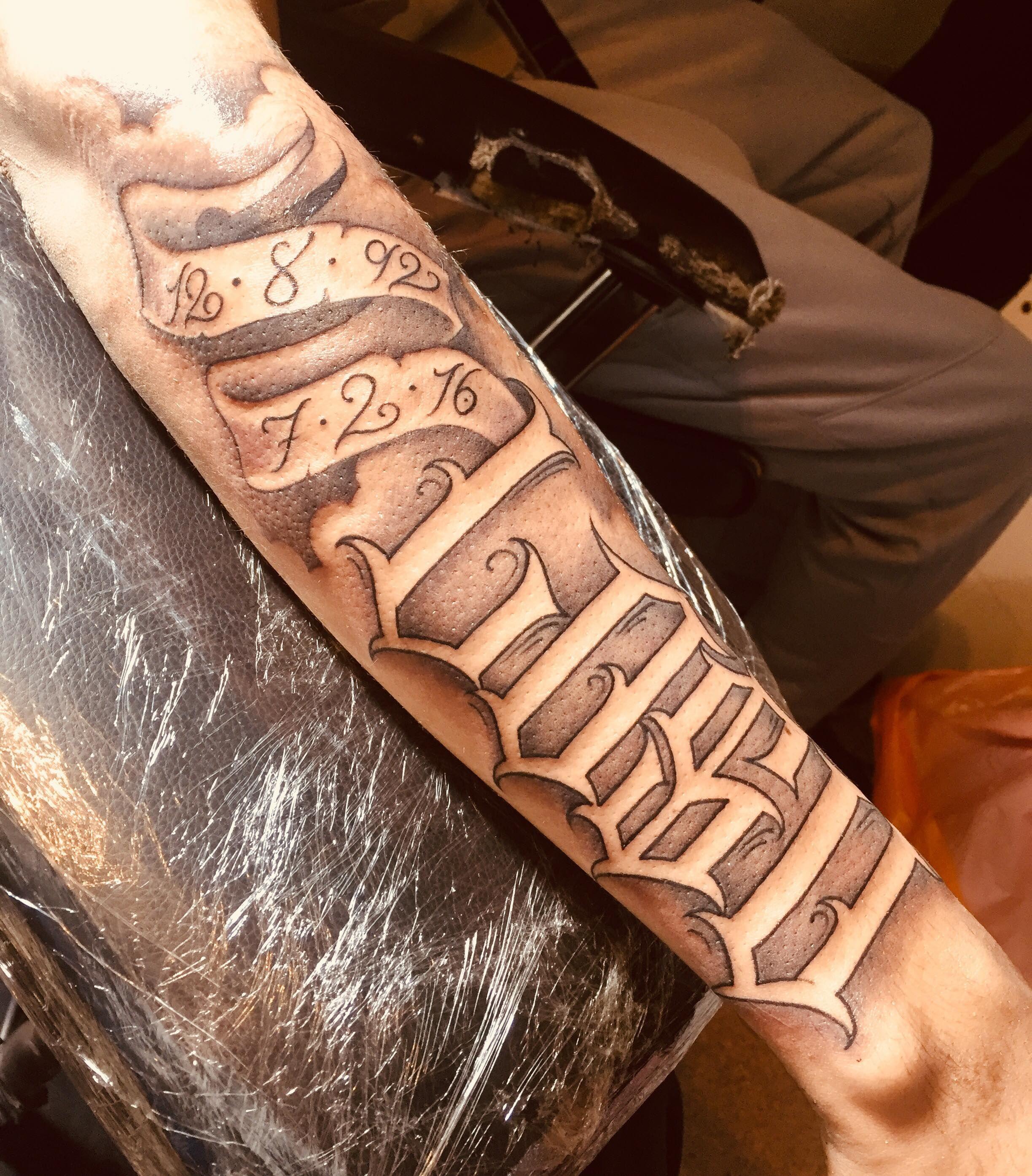 Freestyle Banger Script For Rip Loso Chicano Tattoo