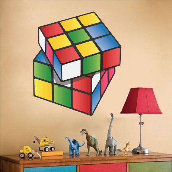Rubik 39 S Cube Wall Decal Rubik 39 S Cube Wall Art Design Kids 39 Room Rubik 39 S Cube Rubi Wall Mural Decals Kids Wall Decals Wall Decals For Bedroom