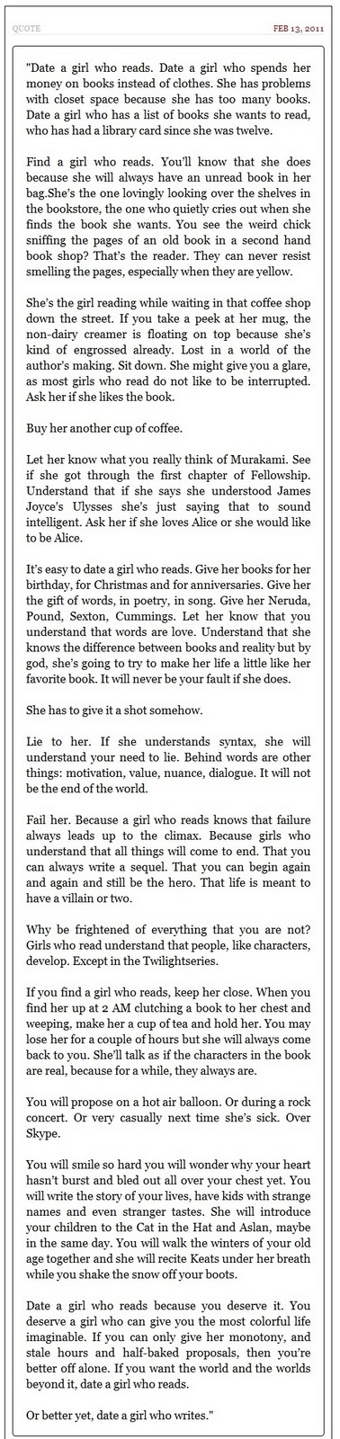 Date a girl who doesn t read