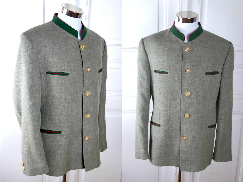 Austrian Vintage Trachten Jacket, Black Forest Green Linen-Blend Traditional Tyrol Octoberfest Jacket: German Teen' Size 164, 36S US/UK