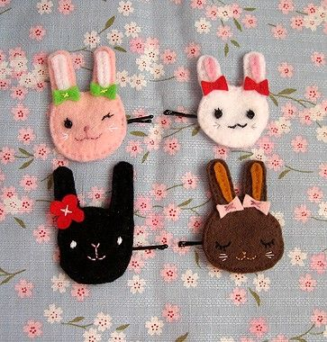 Sugar Bunnies - 4 Rabbit Hair Pin Set