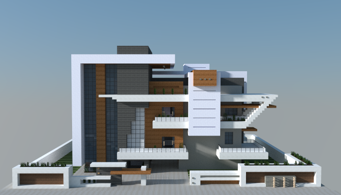 Modern house i made in minecraft jar9 modern houses and for Big modern houses on minecraft