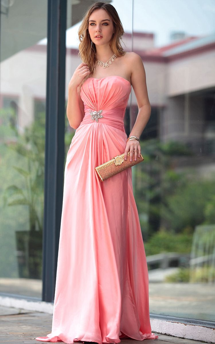 A-line Strapless Chiffon Peach bridesmaid dresses UK | Dress | Pinterest