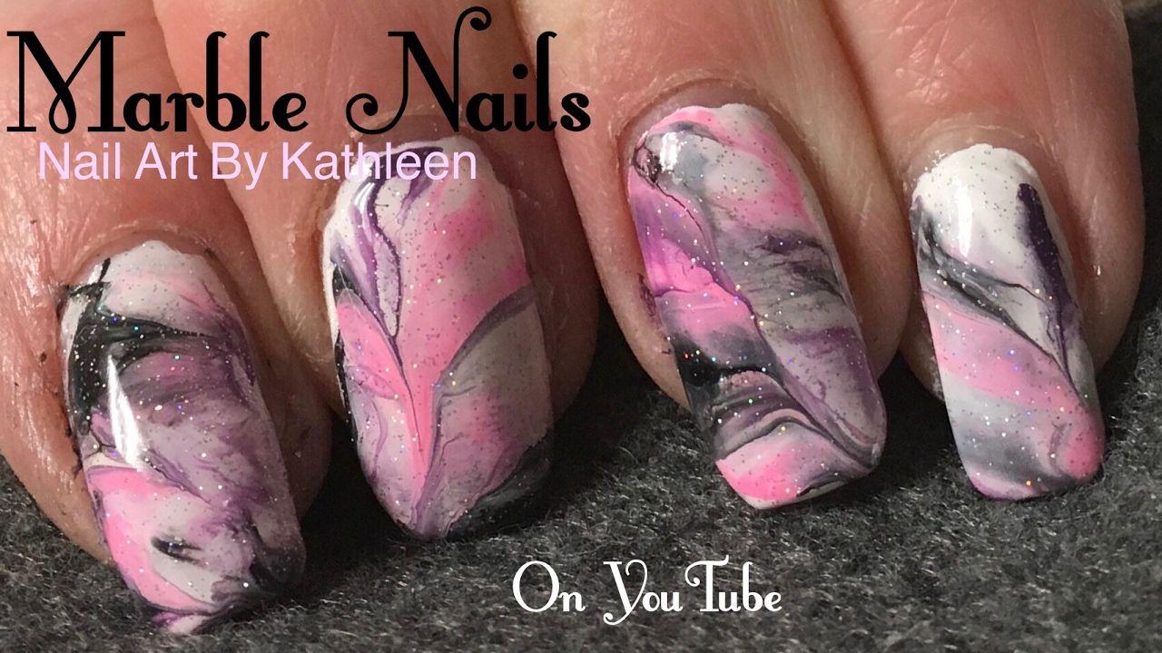 Marble Nails Using Acrylic Paint Marble Nails Marble Nail Art Nail Art Videos