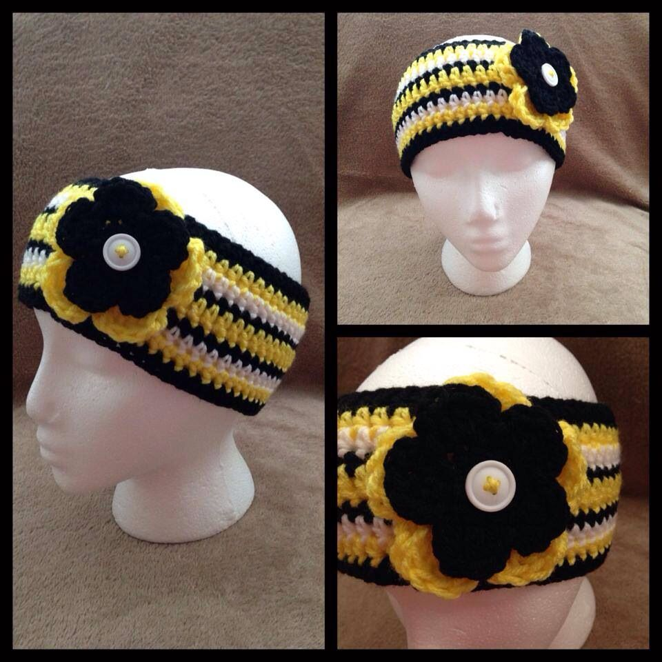 Crochet Headband With Flower Pittsburgh Steelers Colors