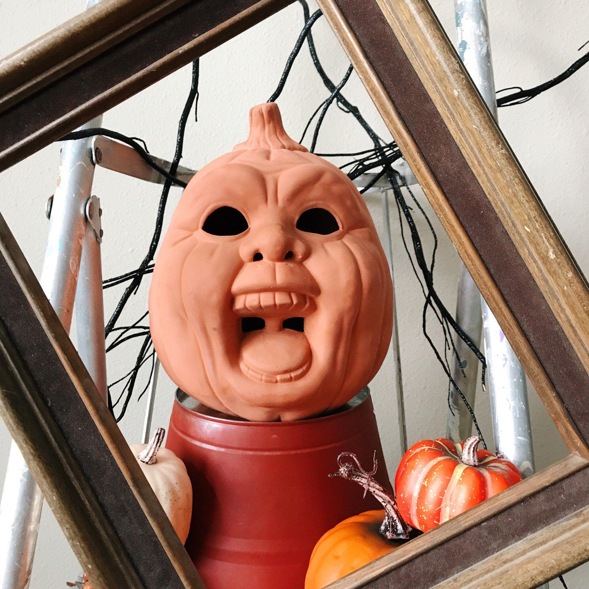 The Screaming Pumpkin Man Scary Vintage 1980s Artisan Crafted Terracotta Jack O Lantern Autumn Pott Halloween Jack O Lanterns Fall Garden Decor Jack O Lantern
