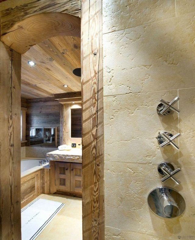 Rustikal Duschkabine Edelstahl Badewanne Holz Badezimmer