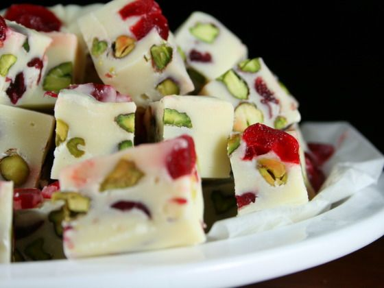 Five Minute White Chocolate Fudge With Pistachio and Cranberries