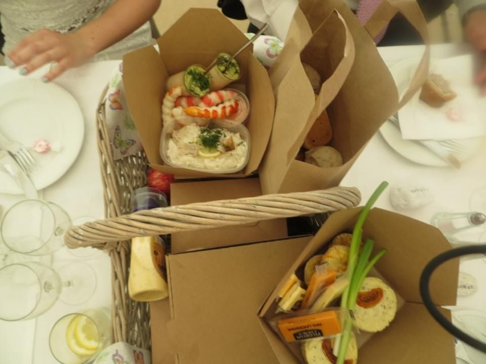 Picnic Hampers For Wedding Guests Rustic Cardboard Boxes With Selection Of Food Alternative To