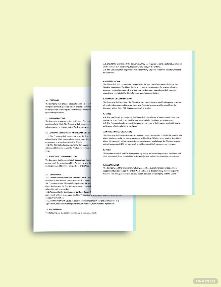 Msa Master Service Agreement Template Free Pdf Word Apple Pages Google Docs Word Doc Templates Words