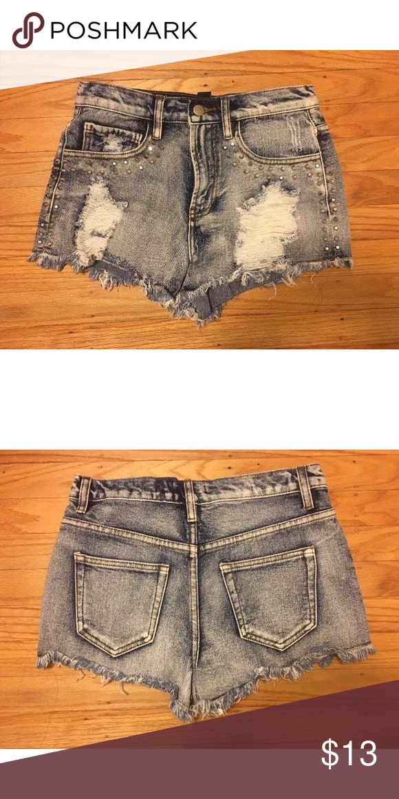 5be5dae41d Forever 21 high waisted cutoffs jean shorts bundle Forever 21, size 26 1) acid  wash; studded details; high waisted; raw cutoff hem; distressed.