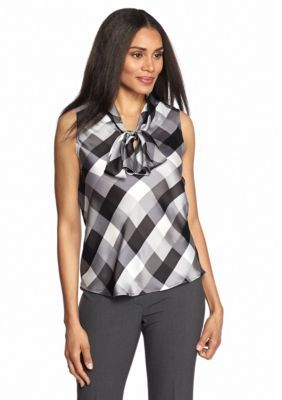 Nine West  Charmeuse Tie Neck Printed Blouse