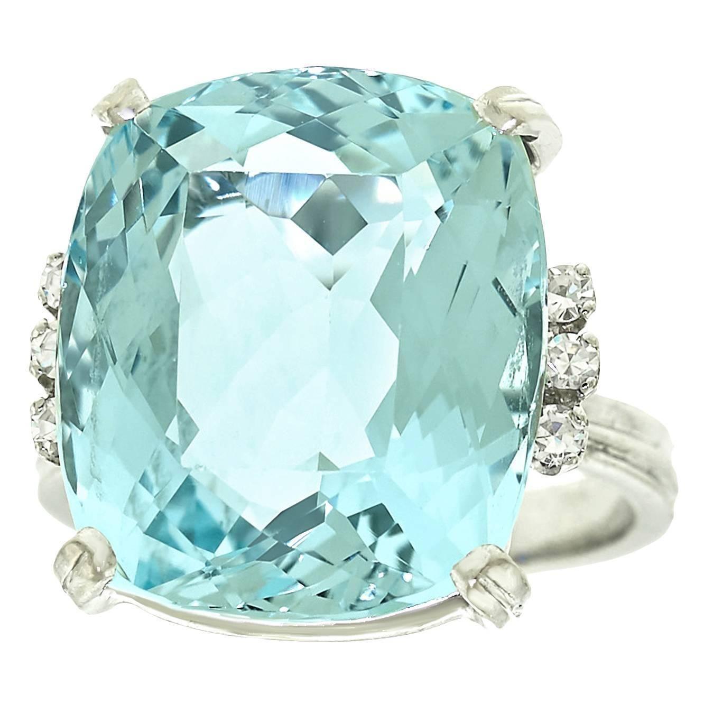 17ad583fa1e5c5 1960s H.Stern 12.5 Carat Aquamarine Diamond Gold Ring | From a unique  collection of
